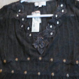 WOMEN'S BLACK LACEY LONG SLEEVE TOP  W/RHINESTONE